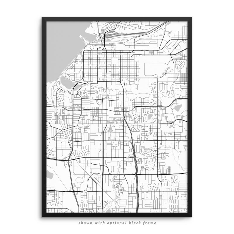 Anchorage AK City Street Map White Poster