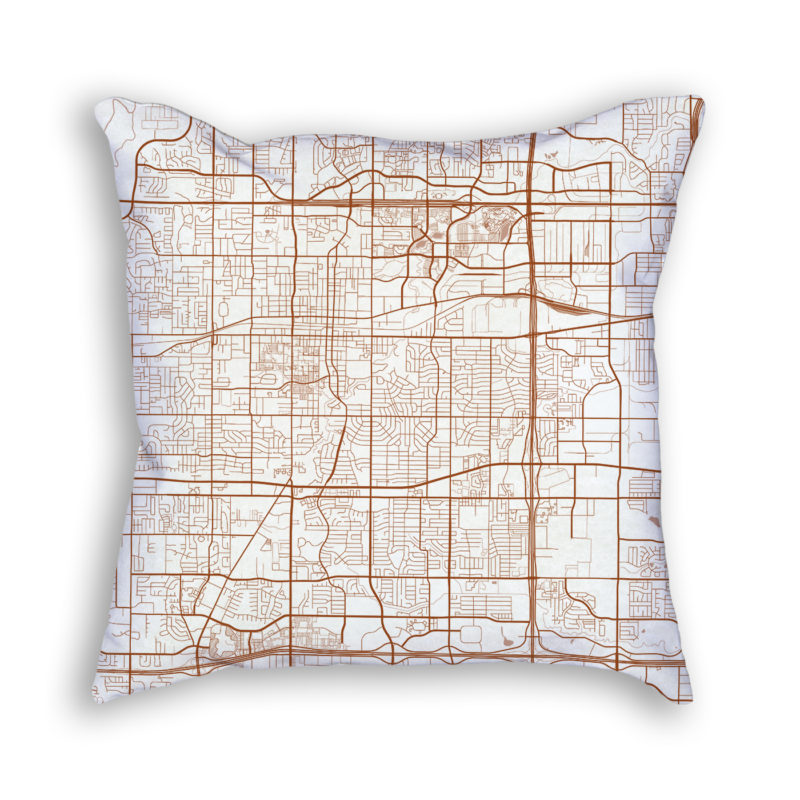 Arlington TX City Map Art Decorative Throw Pillow