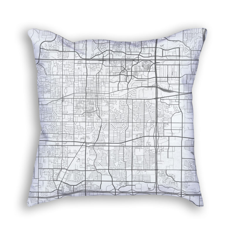Arlington Texas City Map Art Decorative Throw Pillow