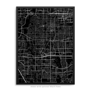 Arlington TX City Street Map Black Poster