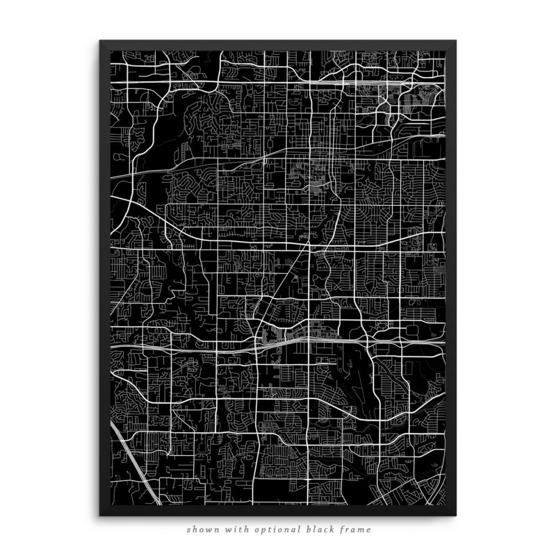Arlington TX City Street Map Black Poster