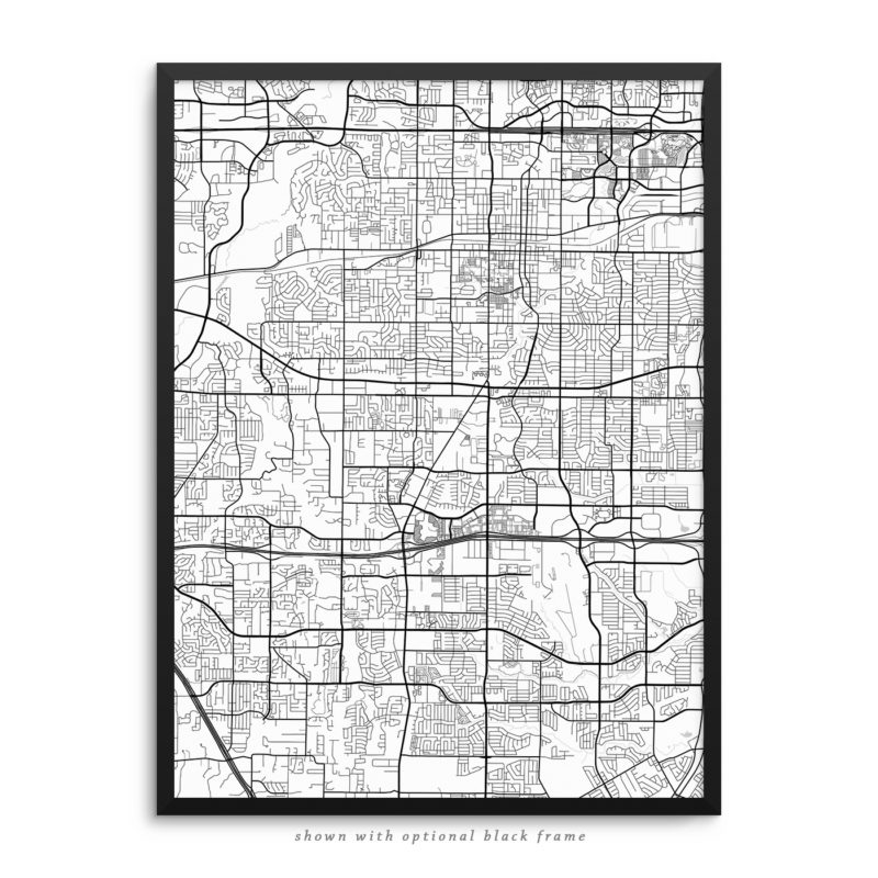 Arlington TX City Street Map White Poster