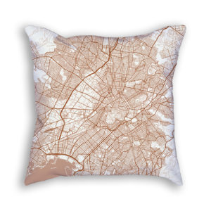 Athens Greece City Map Art Decorative Throw Pillow