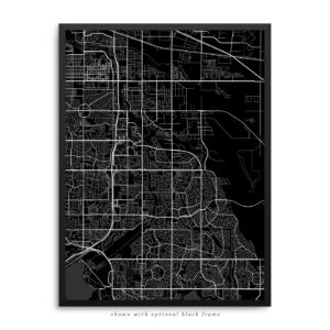 Aurora CO City Street Map Black Poster