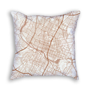 Austin TX City Map Art Decorative Throw Pillow