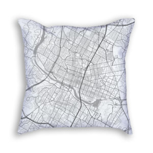 Austin Texas City Map Art Decorative Throw Pillow