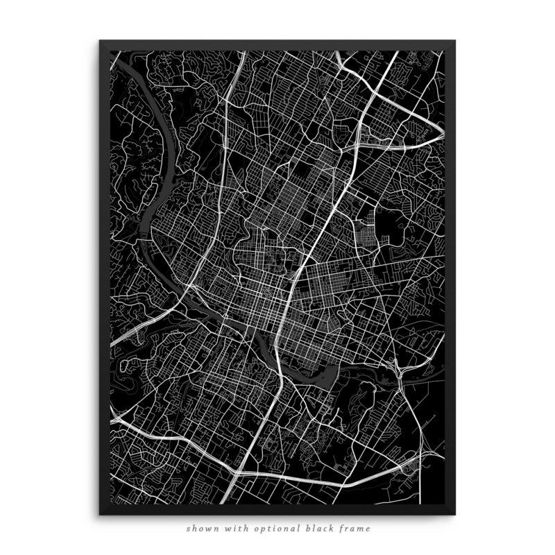 Austin TX City Street Map Black Poster