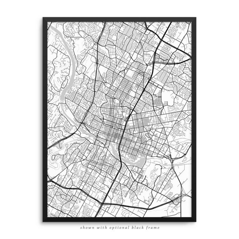 Austin TX City Street Map White Poster