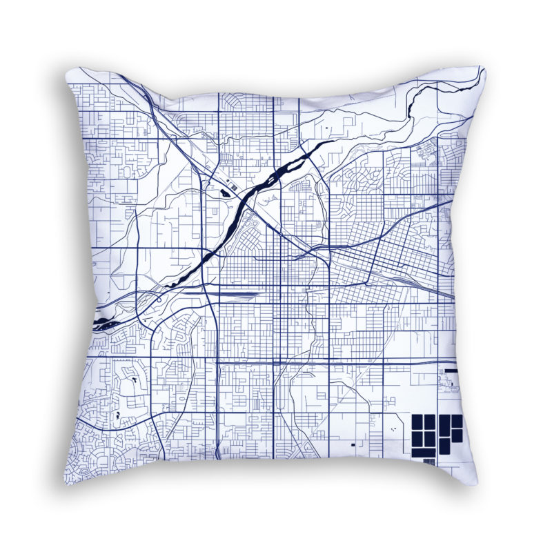Bakersfield California City Map Art Decorative Throw Pillow