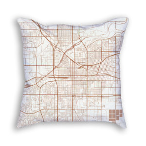 Bakersfield CA City Map Art Decorative Throw Pillow