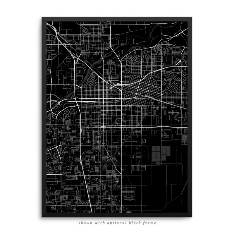 Bakersfield CA City Street Map Black Poster
