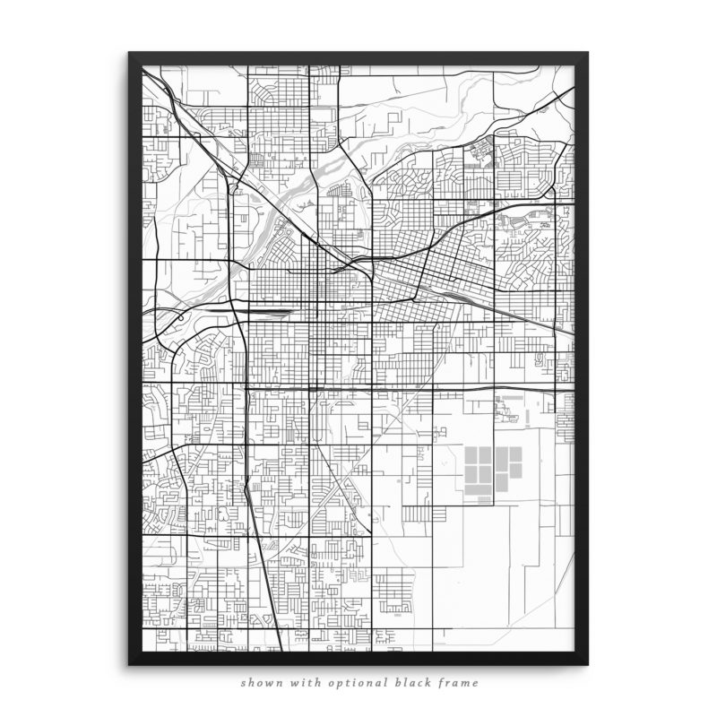 Bakersfield CA City Street Map White Poster