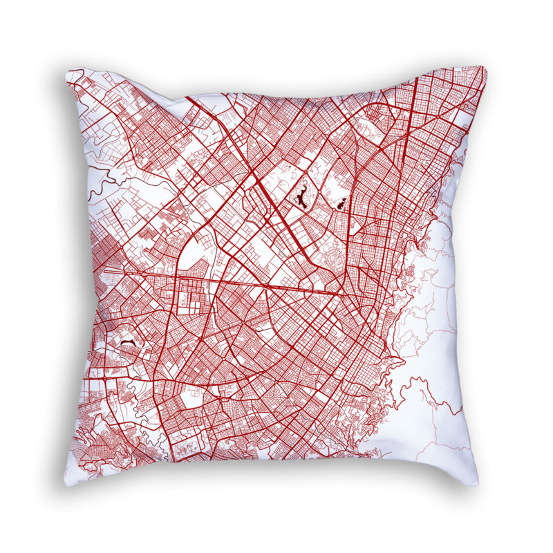 Bogota Colombia City Map Art Decorative Throw Pillow