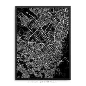 Bogota Colombia City Street Map Black Poster