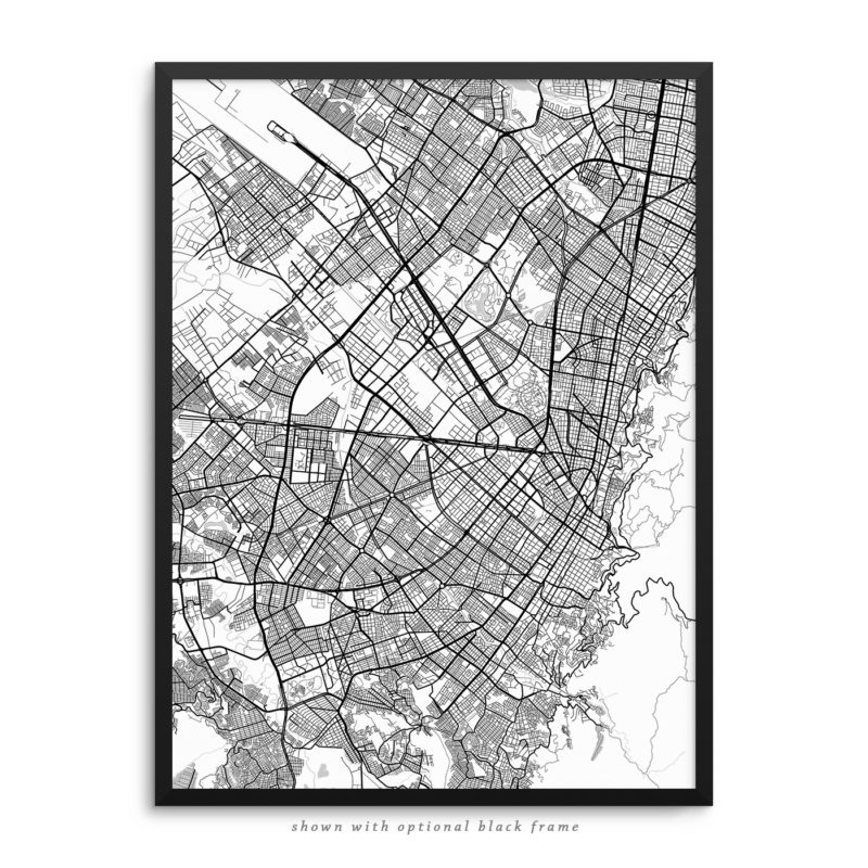 Bogota Colombia City Street Map White Poster