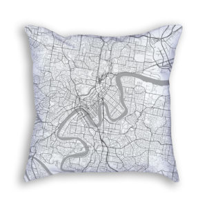 Brisbane Australia City Map Art Decorative Throw Pillow