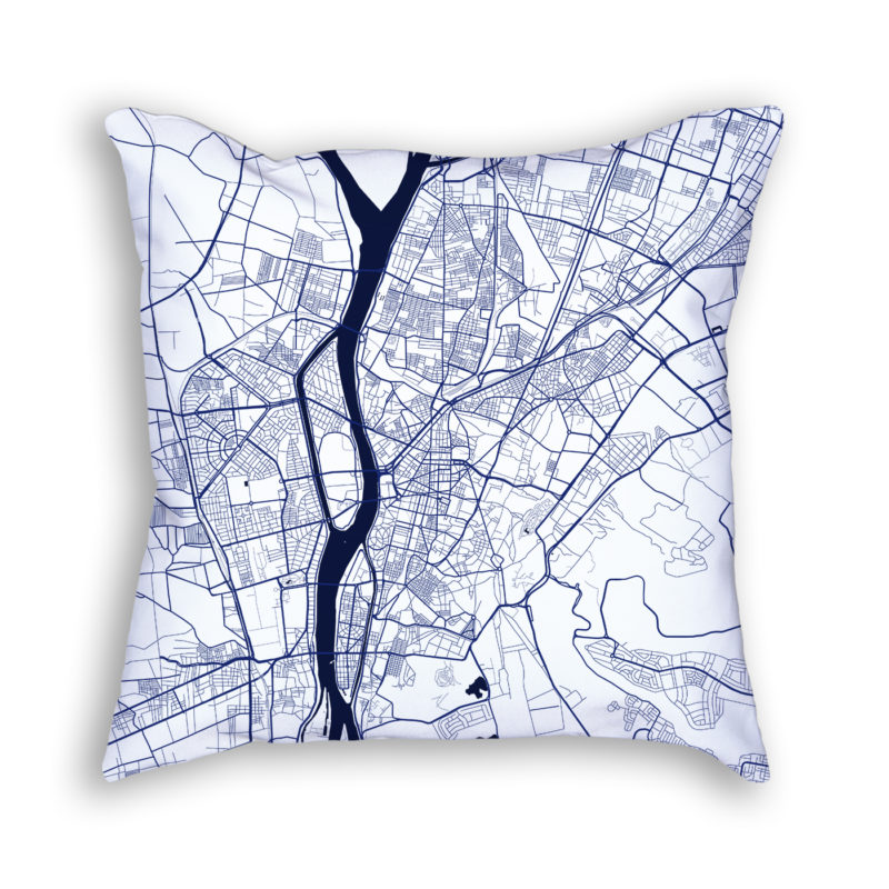 Cairo Egypt City Map Art Decorative Throw Pillow