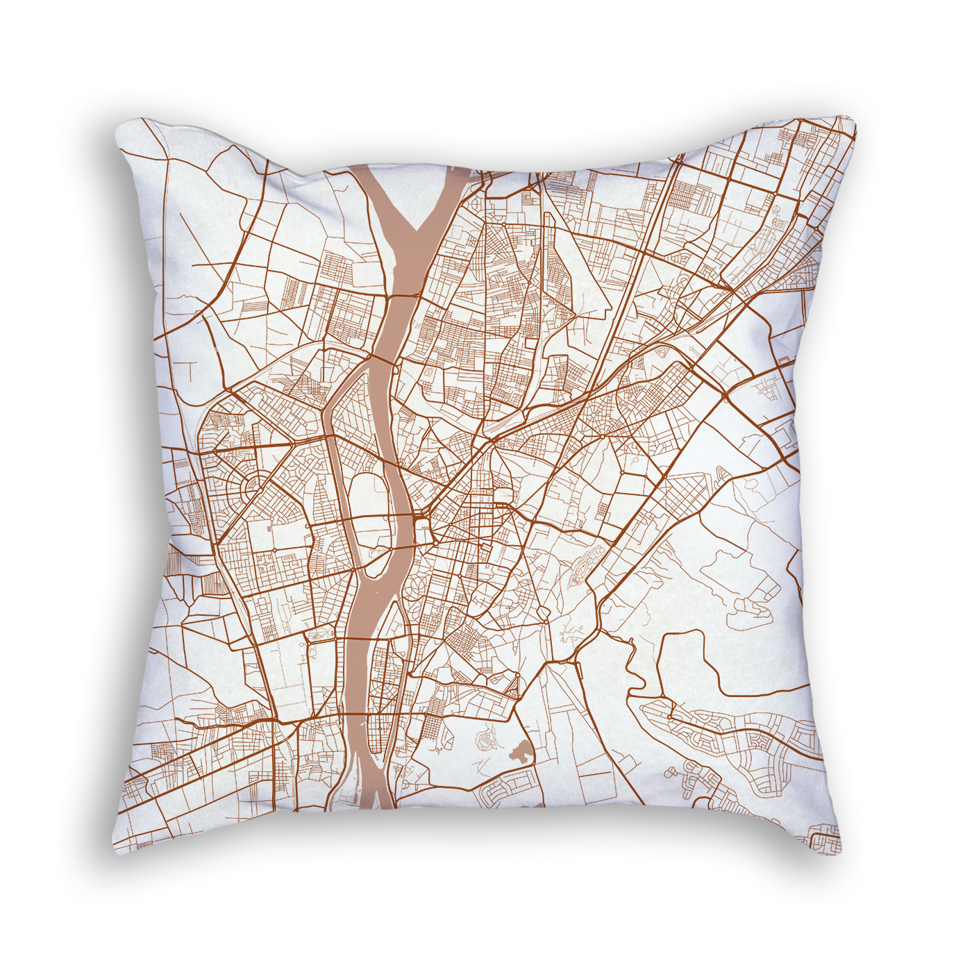 Cairo Egypt City Map Art Decorative Throw Pillow