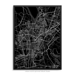 Cairo Egypt City Street Map Black Poster