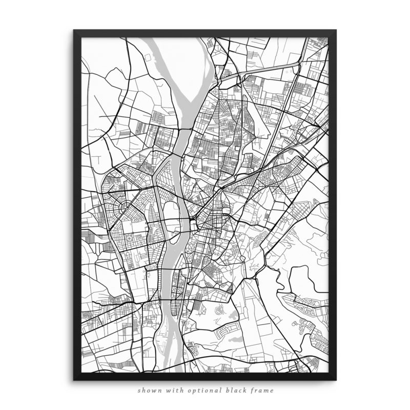 Cairo Egypt City Street Map White Poster