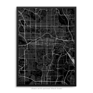 Calgary Canada City Street Map Black Poster