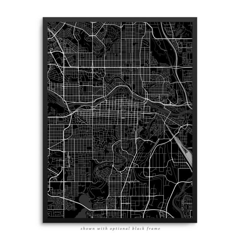 Calgary Canada City Street Map Black Poster