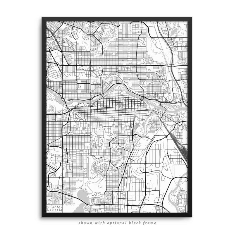 Calgary Canada City Street Map White Poster
