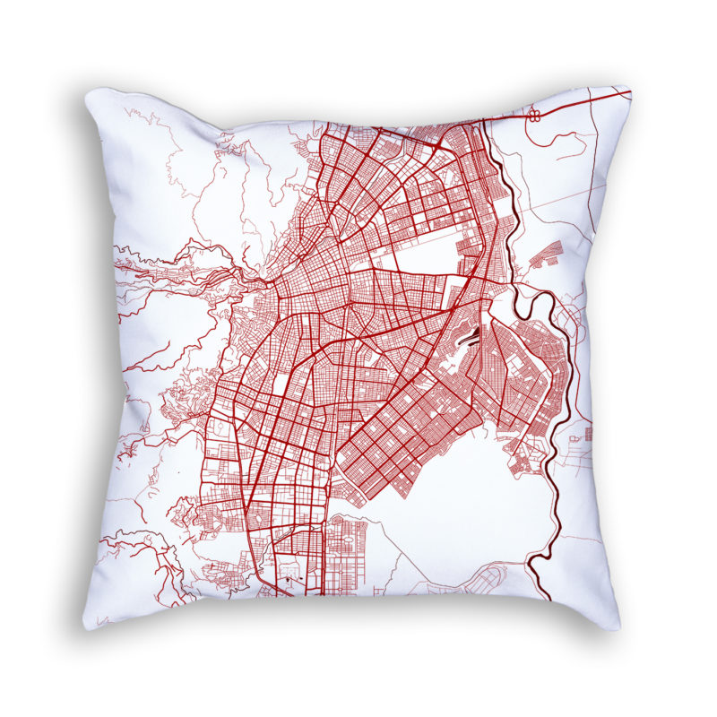 Cali Colombia City Map Art Decorative Throw Pillow