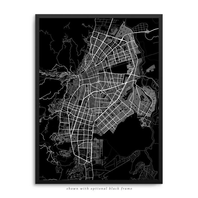 Cali Colombia City Street Map Black Poster