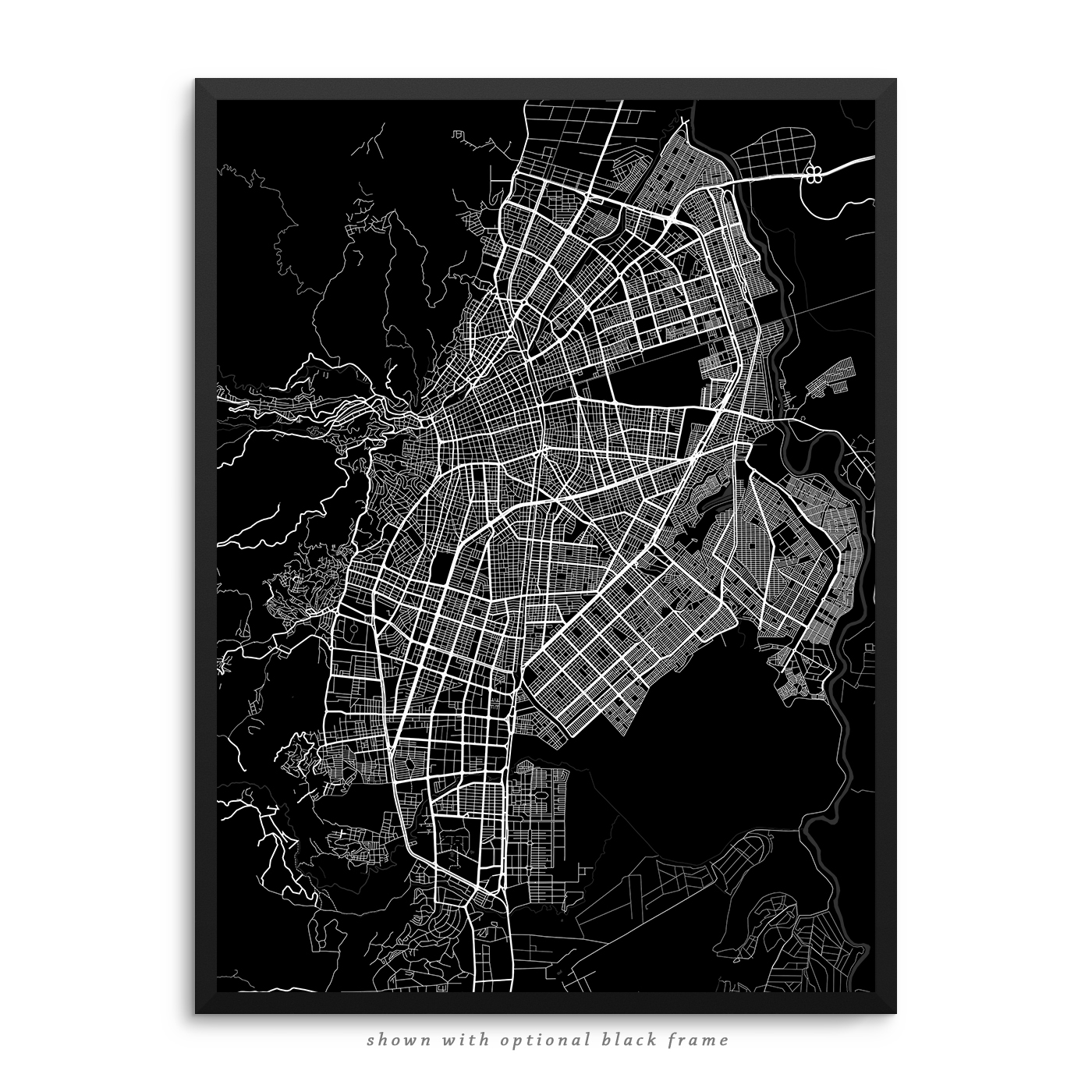 Cali colombia poster city map decor cali colombia city street map black poster gumiabroncs Choice Image