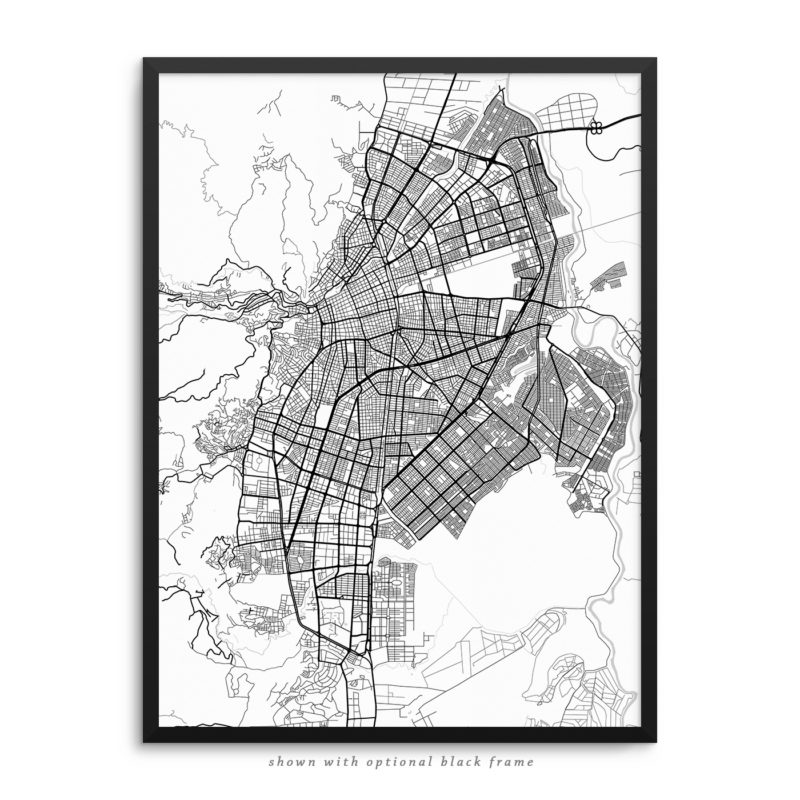 Cali Colombia City Street Map White Poster