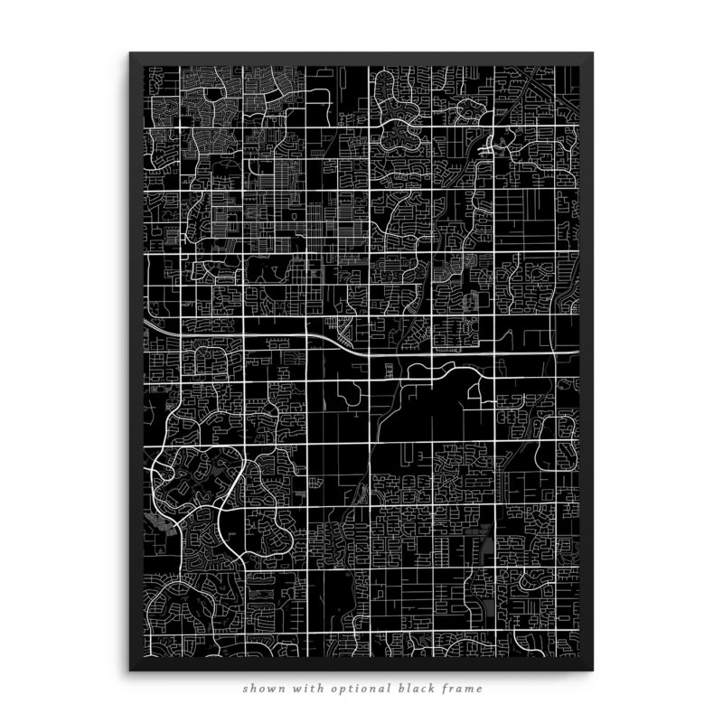 Chandler AZ City Street Map Black Poster
