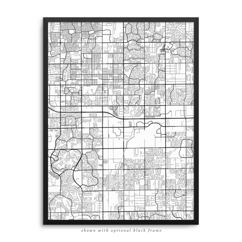 Chandler AZ City Street Map White Poster