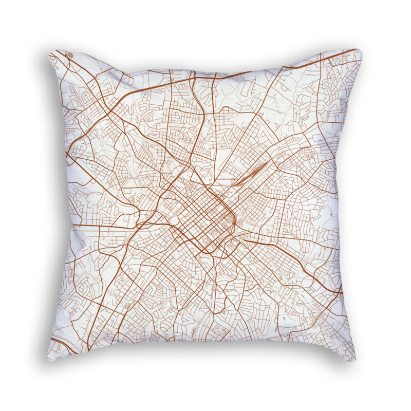 Charlotte NC City Map Art Decorative Throw Pillow