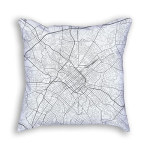Charlotte North Carolina City Map Art Decorative Throw Pillow