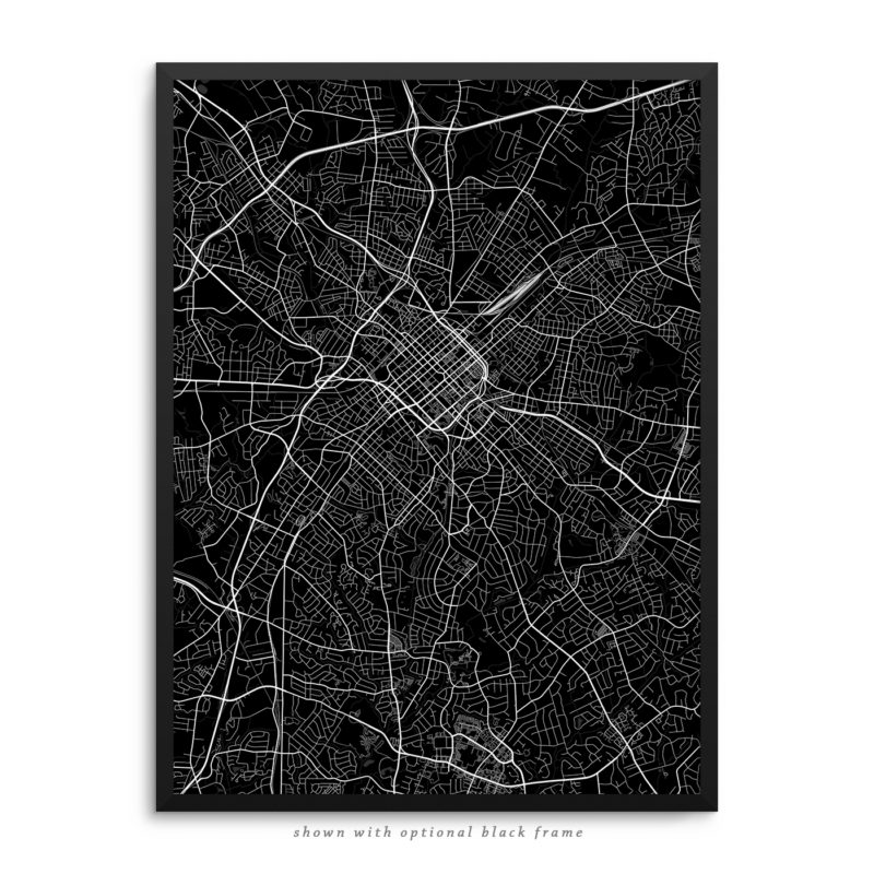 Charlotte NC City Street Map Black Poster