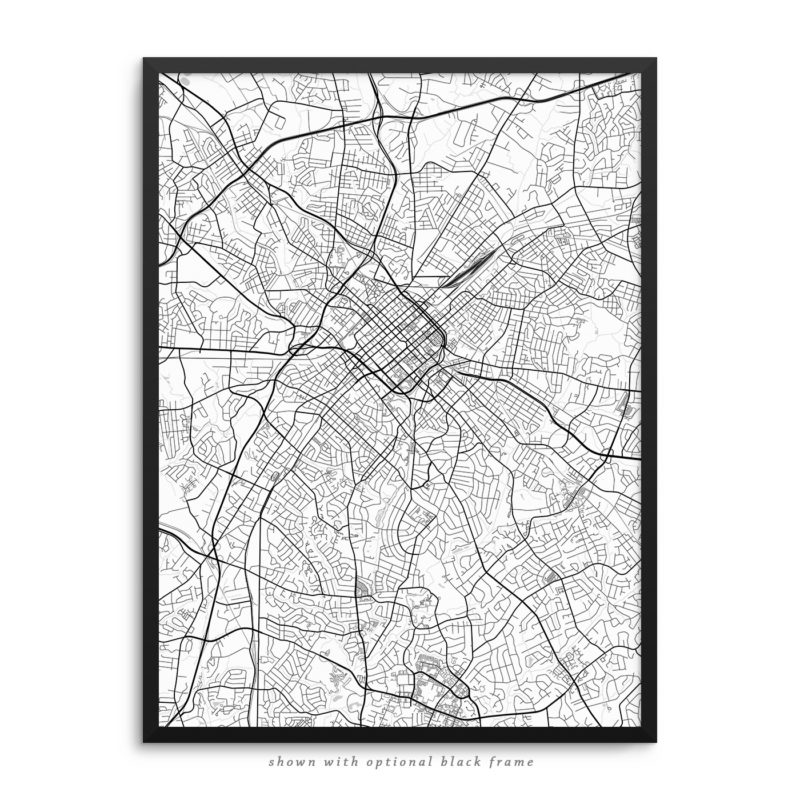 Charlotte NC City Street Map White Poster