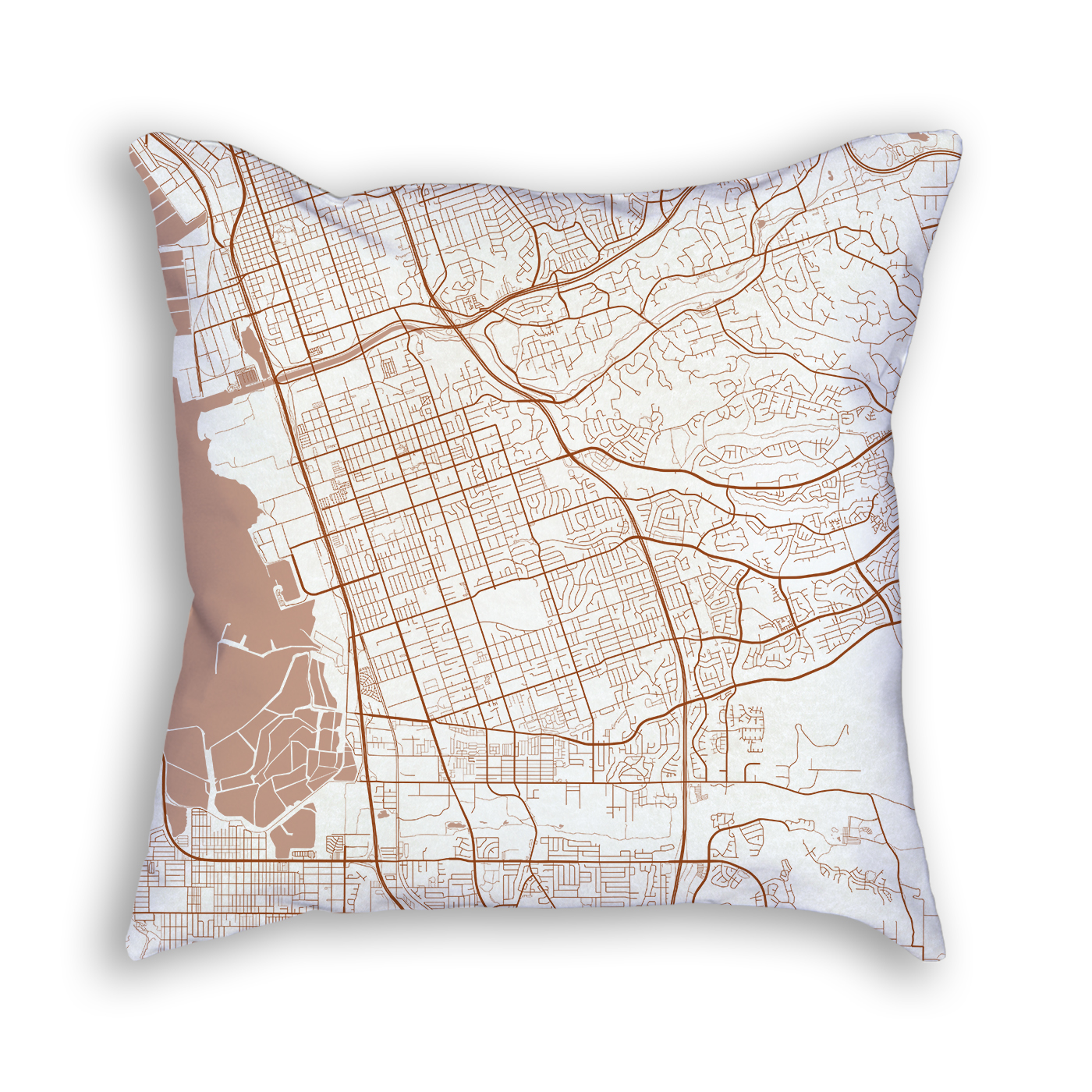 Chula Vista CA City Map Art Decorative Throw Pillow