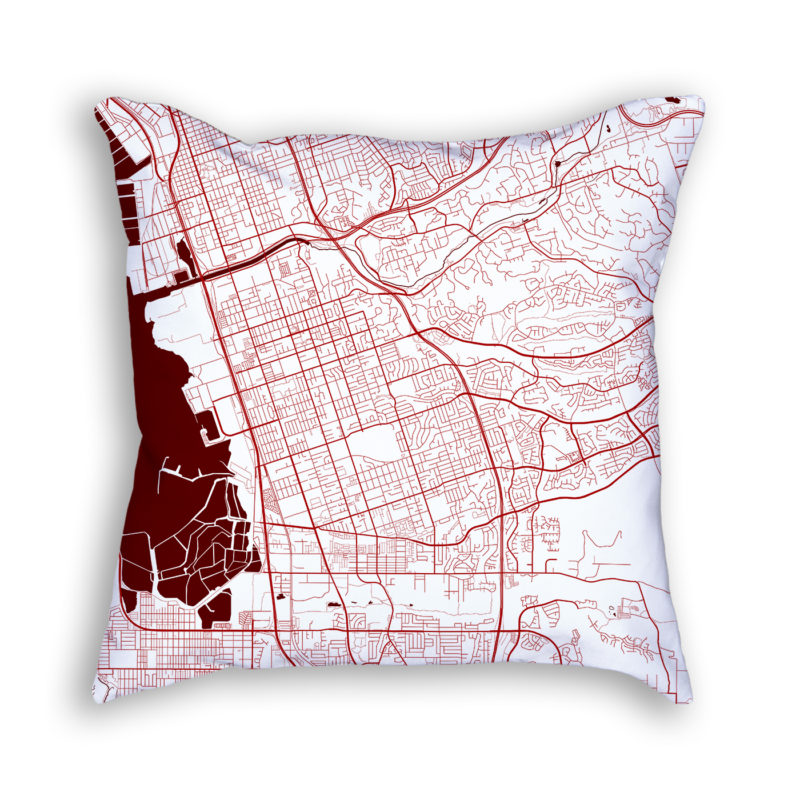 Chula Vista California City Map Art Decorative Throw Pillow