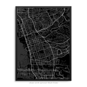 Chula Vista CA City Street Map Black Poster