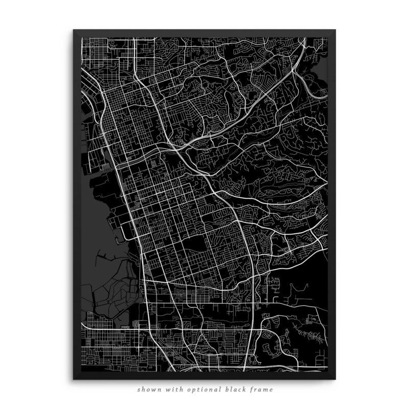 Chula Vista CA City Street Map Black Poster