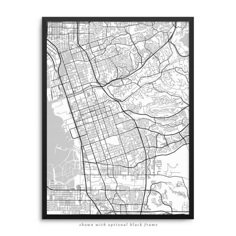 Chula Vista CA City Street Map White Poster