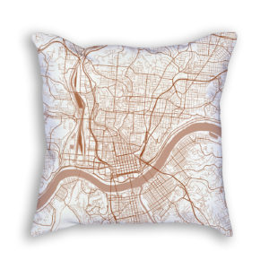 Cincinnati OH City Map Art Decorative Throw Pillow