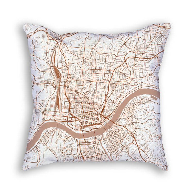 Cincinnati OH City Map Art Decorative Throw Pillow
