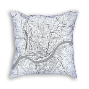 Cincinnati Ohio City Map Art Decorative Throw Pillow