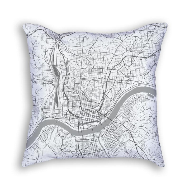 Cincinnati Ohio City Map Art Decorative Throw Pillow