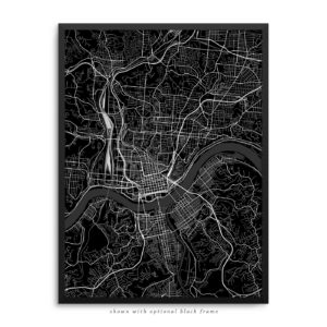 Cincinnati OH City Street Map Black Poster