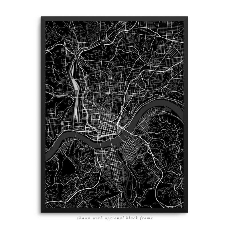 Cincinnati OH City Street Map Black Poster