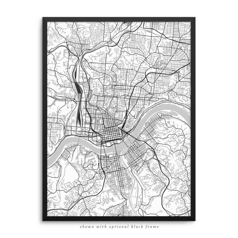 Cincinnati OH City Street Map White Poster
