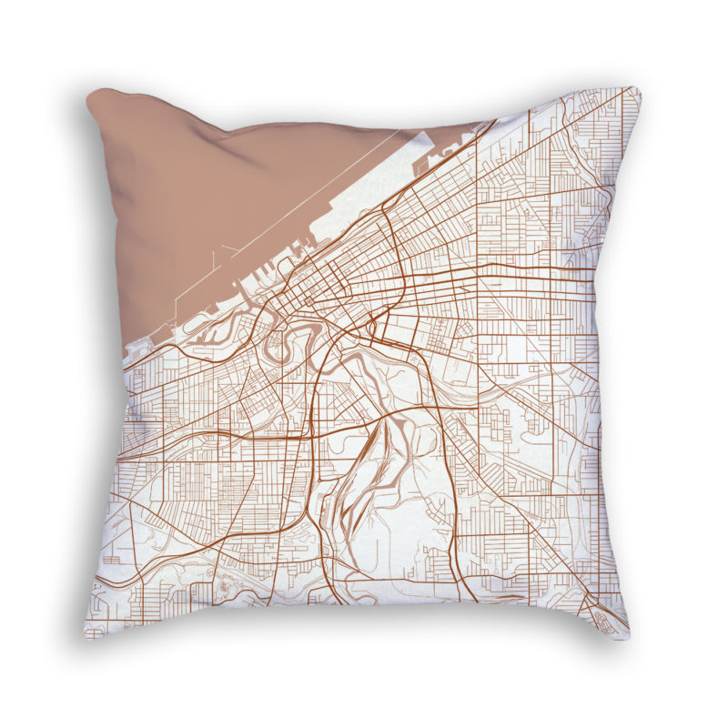 Cleveland OH City Map Art Decorative Throw Pillow